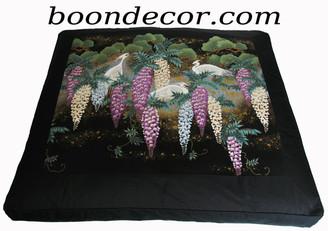 Boon Decor Zabuton Meditation Floor Cushion - Limited Edition Egrets in Wisteria Garden