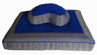 Boon Decor Meditation Cushion Set - Crescent Zafu and Zabuton - Jewel Brocade - Royal Blue