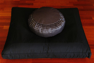 Boon Decor Black Zabuton Meditation Cushion Set - Gray/Silver Zafu Pillow