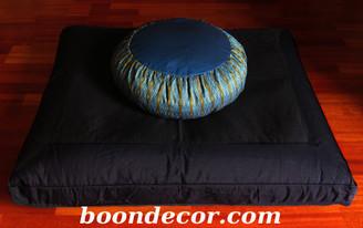 Boon Decor Meditation Cushion Set - Zafu and Black Zabuton - Global Weave SEE COLORS