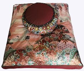 Boon Decor Meditation Cushion Set Zafu Zabuton One of a Kind Oriental Imperial Dawn Cranes