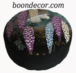Boon Decor Meditation Cushion - Combination Fill Zafu Egrets in Wisteria Garden