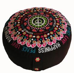 Boon Decor Meditation Cushion Combination Fill Zafu - Retro Collection - Love, Peace and Happiness