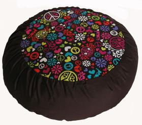 Boon Decor Meditation Cushion Zafu RareFind Fabrics - Love Peace and Happiness