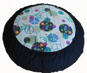 Boon Decor Meditation Cushion Zafu Rare Find Fabrics - Peace Love and Happiness