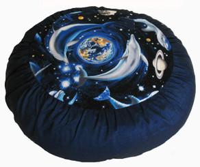 Boon Decor Meditation Cushion Zafu - Limited Edition - Rare Find Fabric - Dolphin Universe