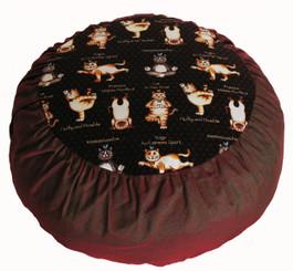 Boon Decor Meditation Cushion Zafu - Limited Edition - Yoga Cats Brown