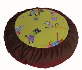 Boon Decor Meditation Cushion Buckwheat Zafu Pillow - Limited Edition Fabric - Yoga Cats