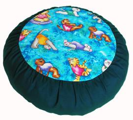 Boon Decor Meditation Cushion Buckwheat Zafu Pillow - Limited Edition - Yoga Cats Teal