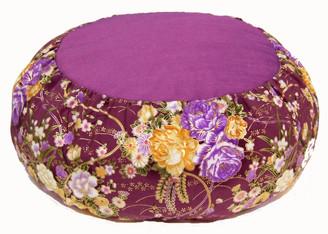 Boon Decor Meditation Cushion Japanese Silk Zafu - Limited Edition - Floral Mauve 16 dia 6 loft