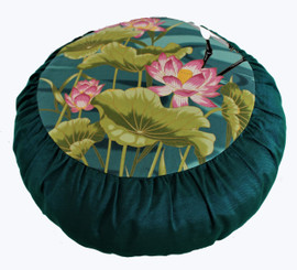 Boon Decor Meditation Cushion - One of a Kind Zafu Pillow - Asian Dawn Cranes and Lotus