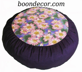 Boon Decor Meditation Cushion Zafu - Limited Edition - Empress Garden Collection - Pink Lotus - Purple