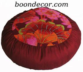 Boon Decor Meditation Cushion Zafu - Limited Edition - Red Lotus Blossoms Lake