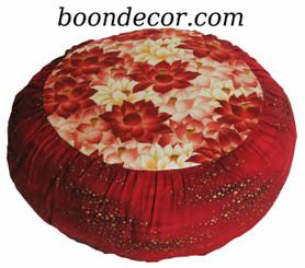 Boon Decor Meditation Cushion Zafu - Limited Edition - Red Lotus Sanctuary - Gold Droplets