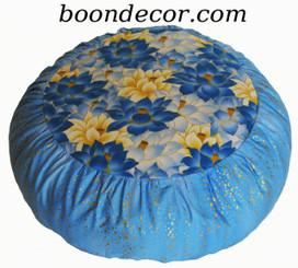 Boon Decor Meditation Cushion Zafu - Limited Edition - Blue Lotus Sanctuary - Gold Droplets