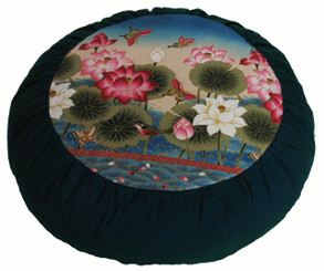 Boon Decor Meditation Cushion Zafu - Limited Edition - Lotus Sanctuary Teal Blue
