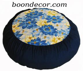 Boon Decor Meditation Cushion Zafu - Limited Edition - Lotus Sanctuary Collection Blue Lotus