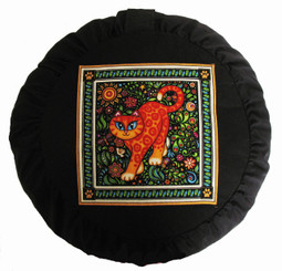 Boon Decor Meditation Cushion Zafu - Celestial Garden Cats Collection - Garden Cat #2