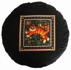 Boon Decor Meditation Cushion Buckwheat Zafu - Celestial Garden Cats Collection - Garden Cat #3