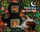 Boon Decor Meditation Cushion Zafu - Celestial Garden Cats Collection - Blue and Rusty
