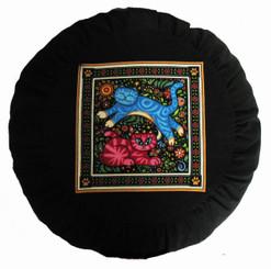 Boon Decor Meditation Cushion Zafu Pillow - Celestial Garden Cats Collection - Blue and Pink