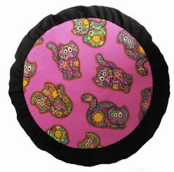 Boon Decor Meditation Cushion Zafu - Celestial Garden Cats Collection - Pink/Black