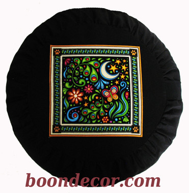 Boon Decor Meditation Cushion Buckwheat Zafu Pillow - Celestial Garden Collection Moon