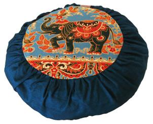 Boon Decor Meditation Cushion Zafu For Children - Cotton Print - Elephant Teal