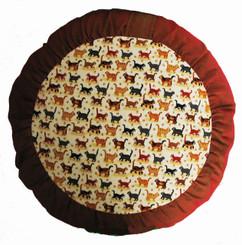 Boon Decor Meditation Cushion Zafu - Limited Edition - Tiny Kitties - Rust and Browns