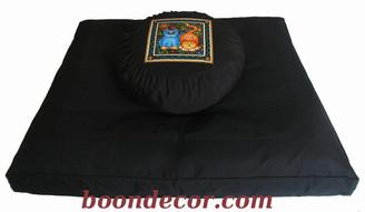 Boon Decor Meditation Cushion Set Zafu and Zabuton - Celestial Garden Cats