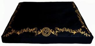 Boon Decor Meditation Cushion Zabuton Silkscreen Lotus Om Wreath Black 34x30x6