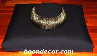 Boon Decor Meditation Cushion Set Zafu and Black Zabuton - Silk Key Brocade Black Gold