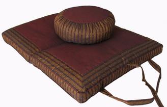 Boon Decor Meditation Cushion Round Zafu and Folding/Travel Zabuton Set Global Weave - Warm Brown