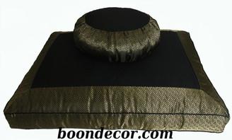 Boon Decor Meditation Cushion Set Zafu and Zabuton - Silk Key Brocade Black Gold