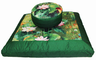 Boon Decor Zafu and Zabuton Meditation Cushion Set - Limited Edition - Lotus Garden - Green