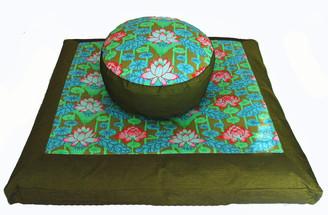 Boon Decor Meditation Cushion Set Combination Zafu and Zabuton Lotus Lake Blossom - Green