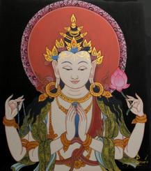 Boon Decor Avalokiteshvara Original Painting - a Bodhisattava 14 x 16