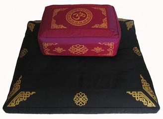 Boon Decor Meditation Cushion Rectangular Zafu and Zabuton Set - Magenta Dharma Key SEE SYMBOLS
