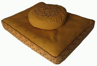Boon Decor Meditation Cushion Set Zafu/Zabuton - Pre-washed Cotton - Mustard Vine