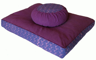 Boon Decor Zabuton Meditation Floor Cushion - Pre-washed Cotton Wood-block Prints Purple