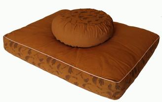 Boon Decor Meditation Cushion Set Zafu/Zabuton - Pre-washed Cotton - Cinnamon