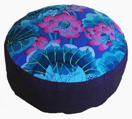 Boon Decor Meditation Cushion Combination Fill Zafu - Ltd Edition - Lotus Lake Blossoms - Purple