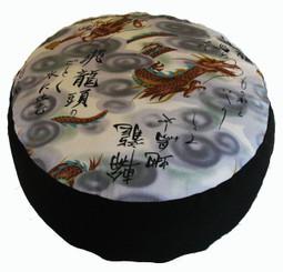 Boon Decor Meditation Cushion Dragon with Kenji Writing Buckwheat Kapok Fill Zafu 7 high