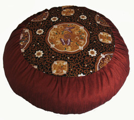 Boon Decor Meditation Cushion Pillow - Limited Edition Zafu Butterflies in the Orient - Copper/Brown