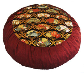 Boon Decor Meditation Cushion - Limited Edition Zafu - Fans of the Imperial Garden - Copper/Brown