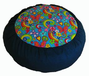 Boon Decor Meditation Cushion Zafu - Rare Find Fabric Limited Edition - Love Peace and Happiness