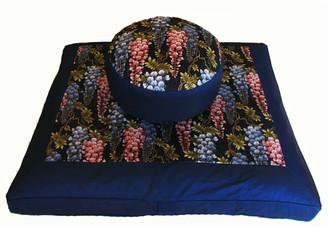 Boon Decor Meditation Cushion Zafu Zabuton Set - Wisteria in the Breeze Blue