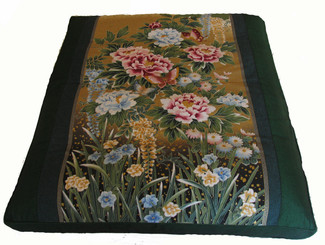 "Meditation Cushion Floor Mat One-of-a-Kind Zabuton ""Peony Garden"""