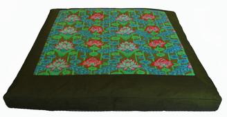 Boon Decor Meditation Cushion Zabuton Floor Mat Lotus lake Blossoms Green