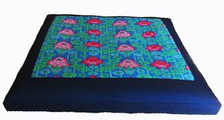 Boon Decor Meditation Cushion Zabuton Floor Mat Lotus lake Blossoms Blue